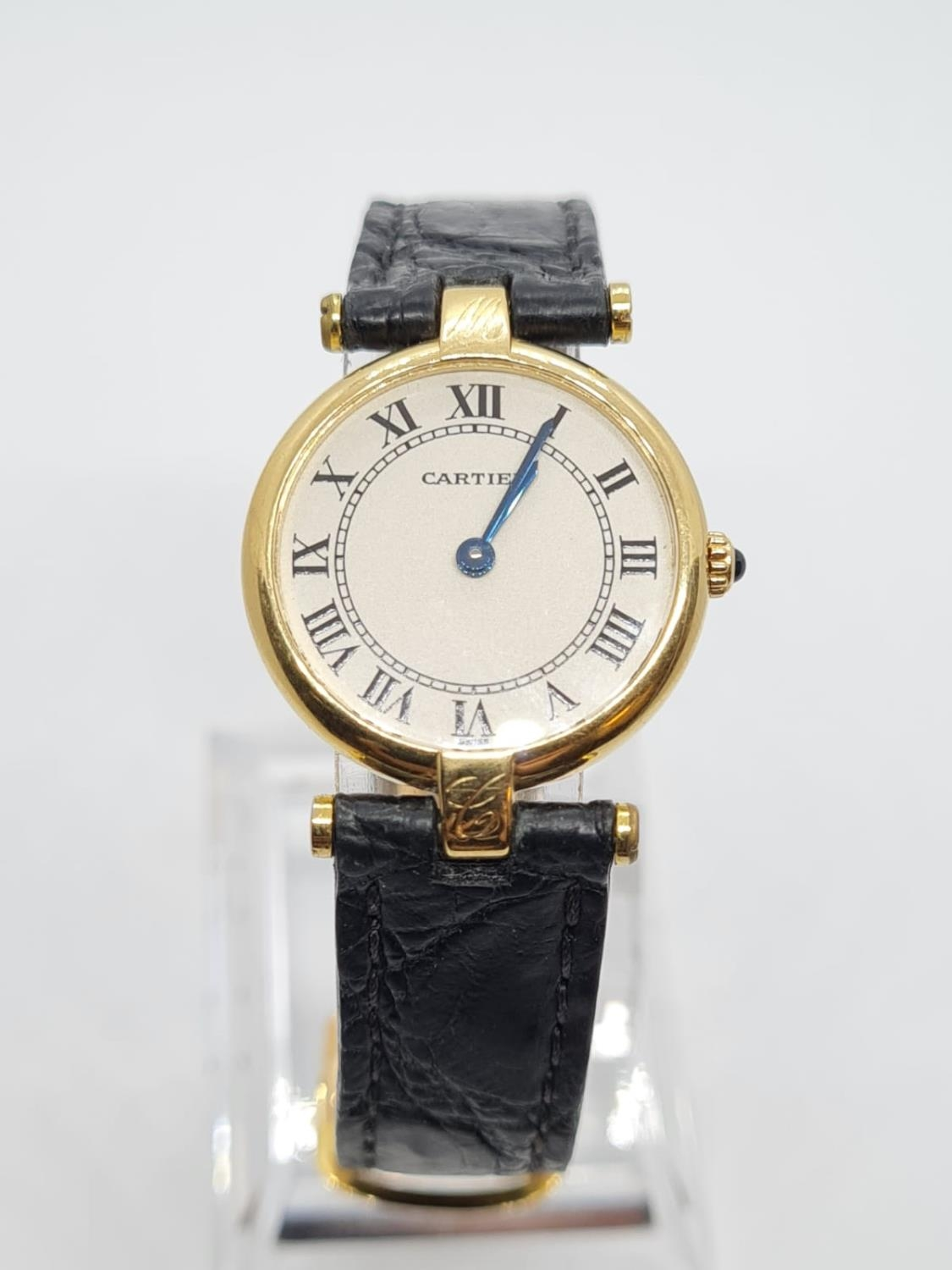 Vintage Cartier 18ct Gold Ladies quartz WATCH with round face and Roman Numerals and original