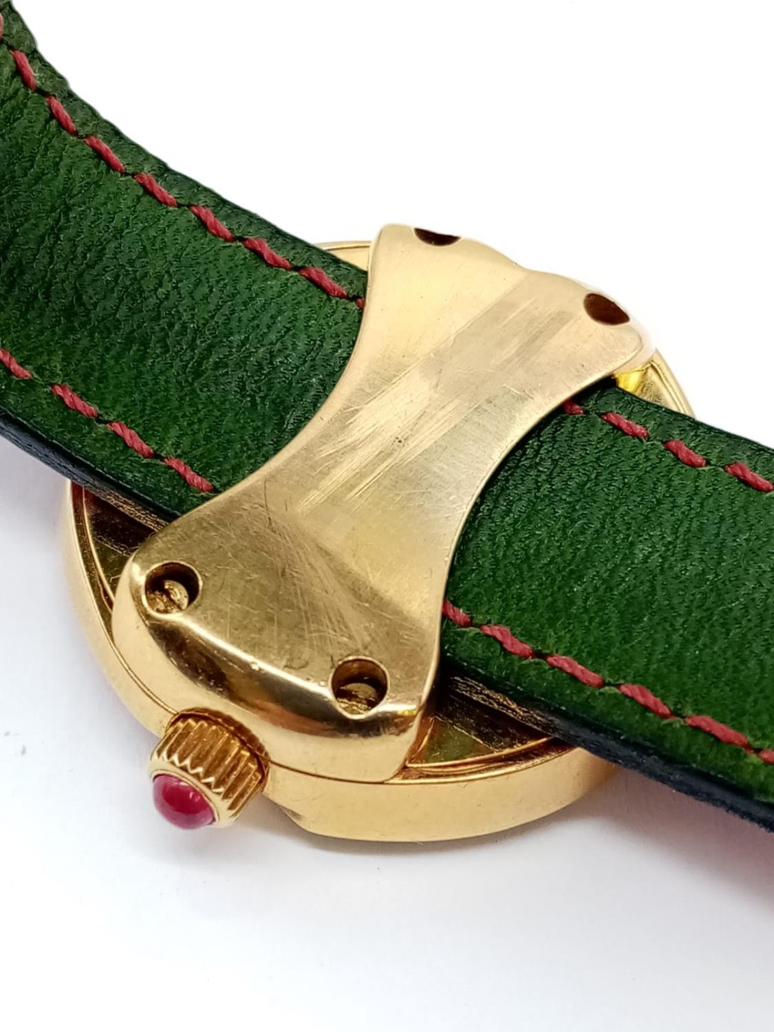 Vintage Bouquet 18ct gold ladies dress watch, round face with emerald, ruby and diamonds surround, - Image 5 of 9