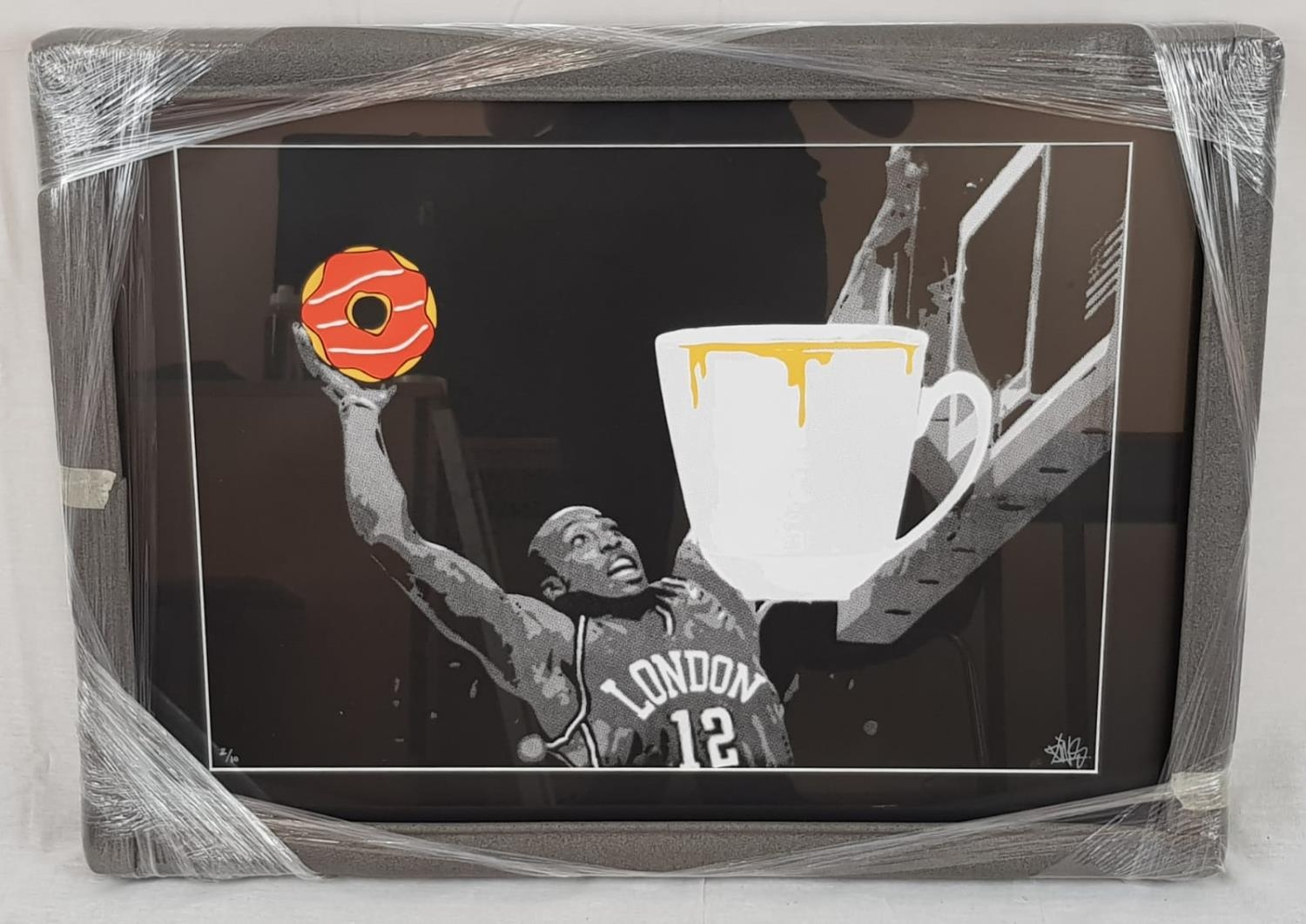 Just Dunk it! by Pins. A limited edition print (2 of 10) by British urban artist Pins. Signed back