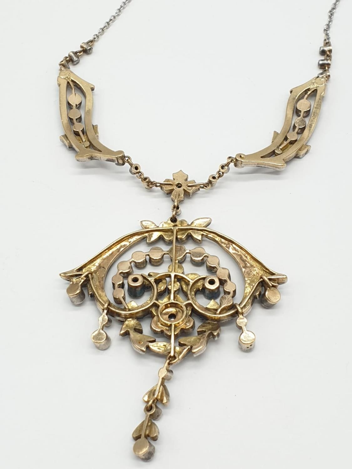 9ct Gold and Diamond Vintage PENDANT with over 3 ct of Diamonds. 42.4g 40cm length. - Image 5 of 6
