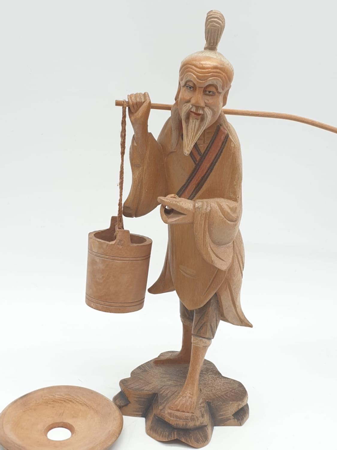 Hand carved wooden figure a Chinese pedlar. 20cm tall. - Image 2 of 7