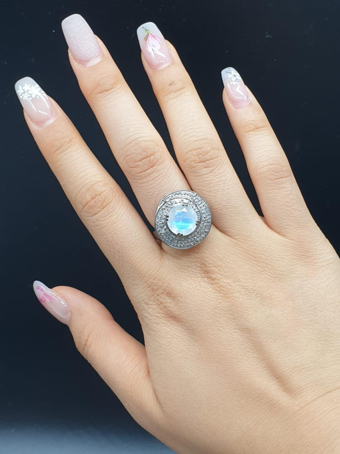 4 Ct Moonstone Ring with 0.75 Ct Rose cut diamonds. Blackened silver. - Image 7 of 8