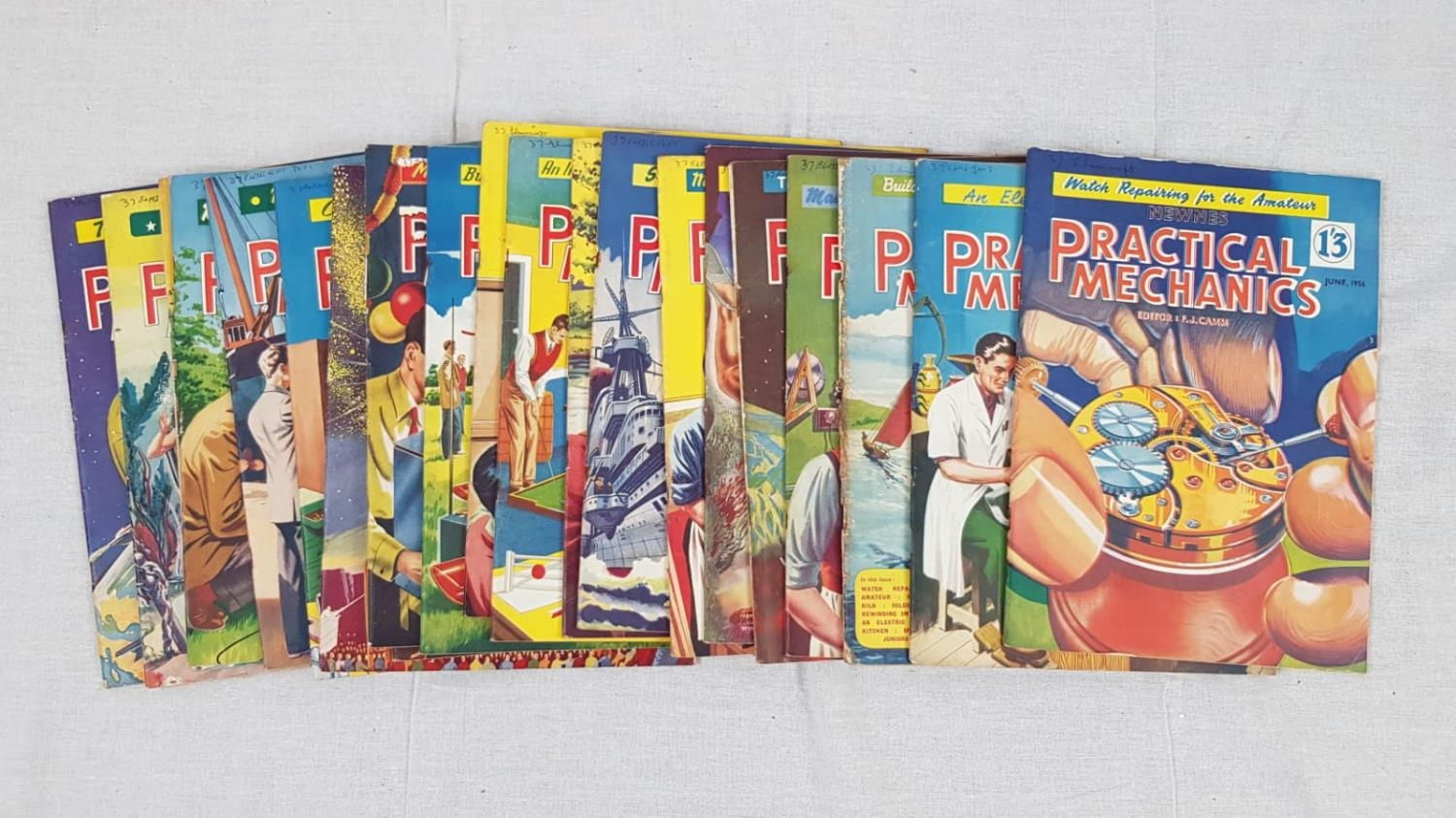21 Vintage copies of Practical Mechanics magazine from 1954 to 1956. Including the classics: Watch
