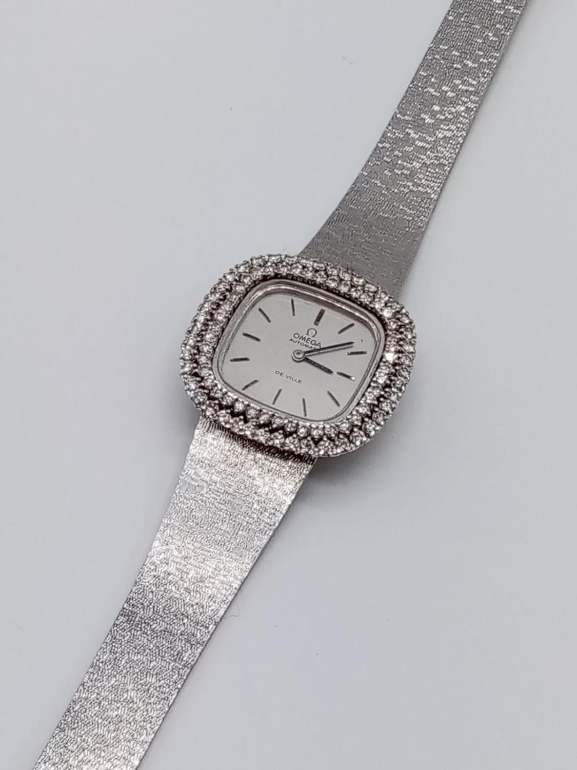 Vintage 18ct white gold OMEGA de Ville ladies automatic watch, square face with diamond encrusted - Image 7 of 7