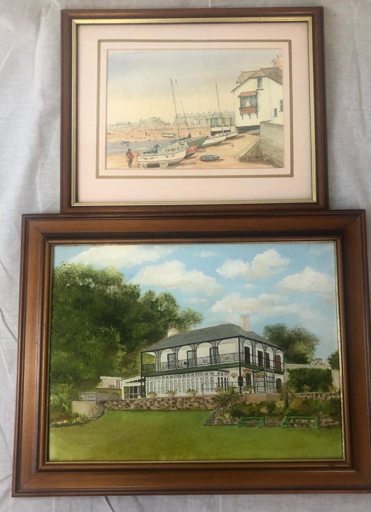 2 x framed PAINTINGS featuring Ness House and the beach at Sheldon, Devon. 50 x 40cm 40 x 32cm