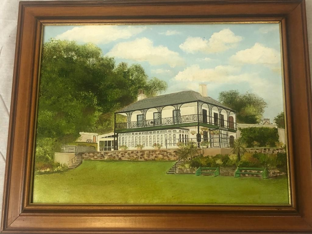 2 x framed PAINTINGS featuring Ness House and the beach at Sheldon, Devon. 50 x 40cm 40 x 32cm - Image 3 of 4