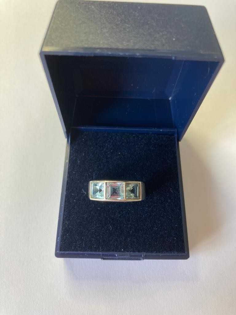 Silver ring having 3 channel set blue topaz stones. Size N. - Image 2 of 2
