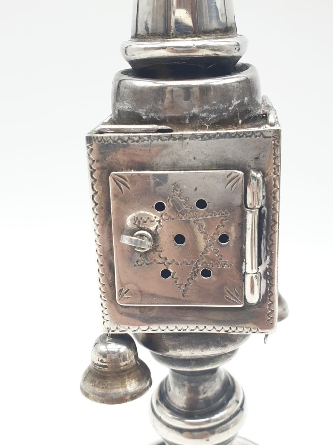 Silver TOWER (missing one bell). Late 19th Cent. 94.4g 20 cm tall. - Image 2 of 9