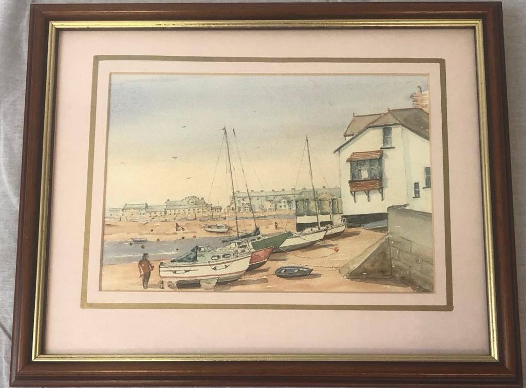 2 x framed PAINTINGS featuring Ness House and the beach at Sheldon, Devon. 50 x 40cm 40 x 32cm - Image 2 of 4