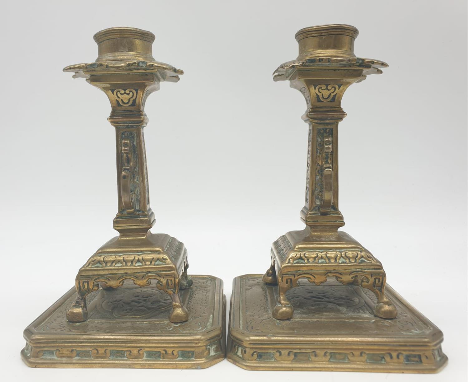 Pair of 19th century Chinese cast candlesticks 16cm tall - Image 2 of 7