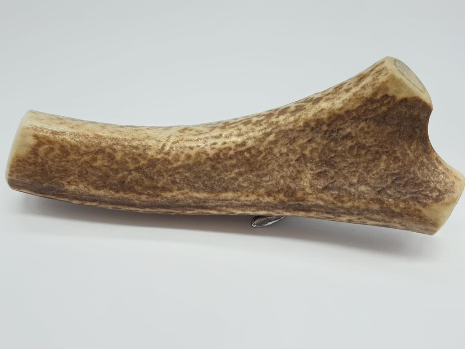 Piece of Antelope HORN with a white metal figure of a SEAL mounted on it. 122g 16cm long. - Image 6 of 7