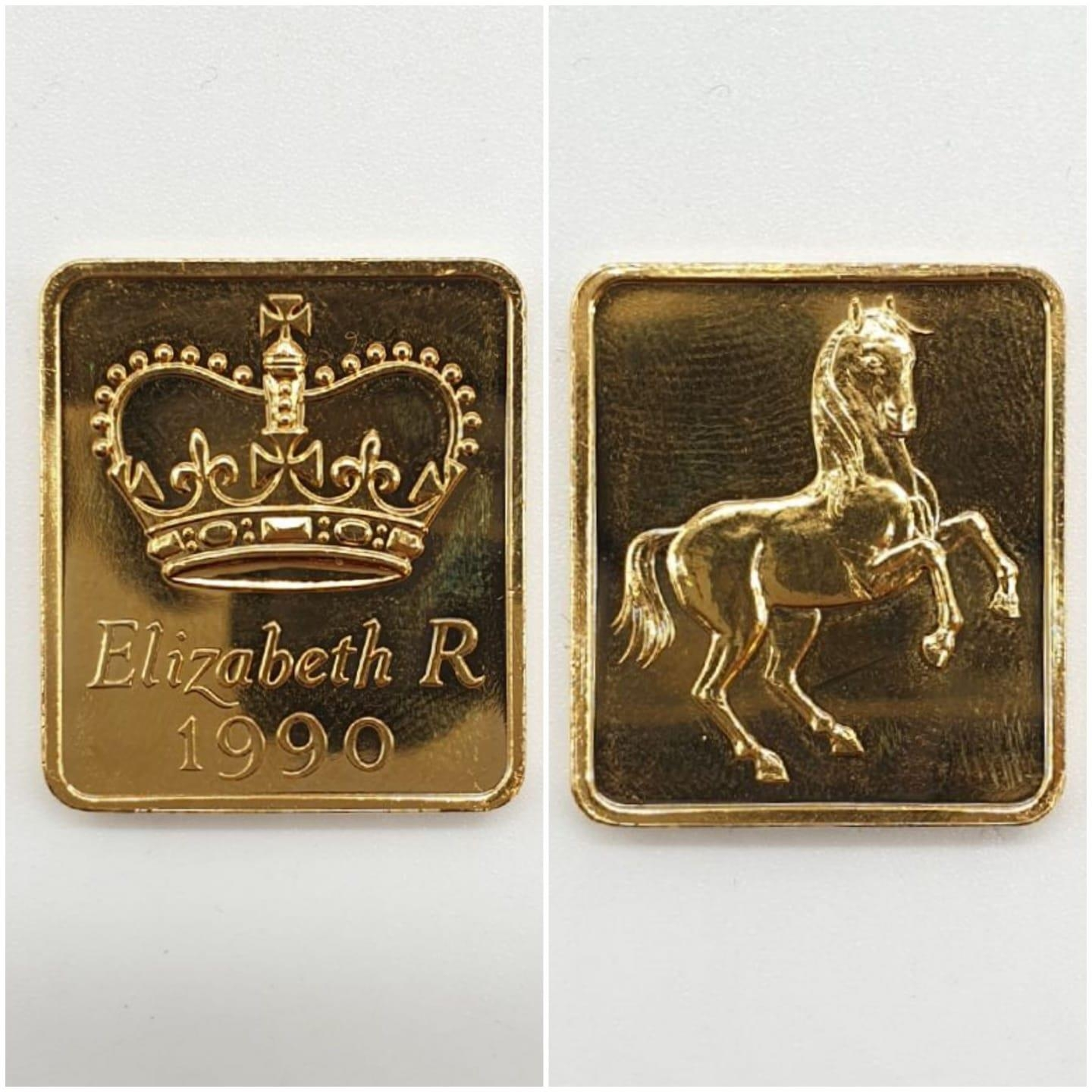 1990 UK GOLD PROOF SOVEREIGN 4 COIN COLLECTION TO INCLUDE A £5 COIN, A DOUBLE SOVEREIGN COIN, A - Image 2 of 5
