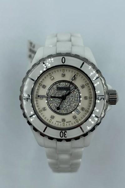 Chanel ceramic quartz watch with cream face and full diamond set dial