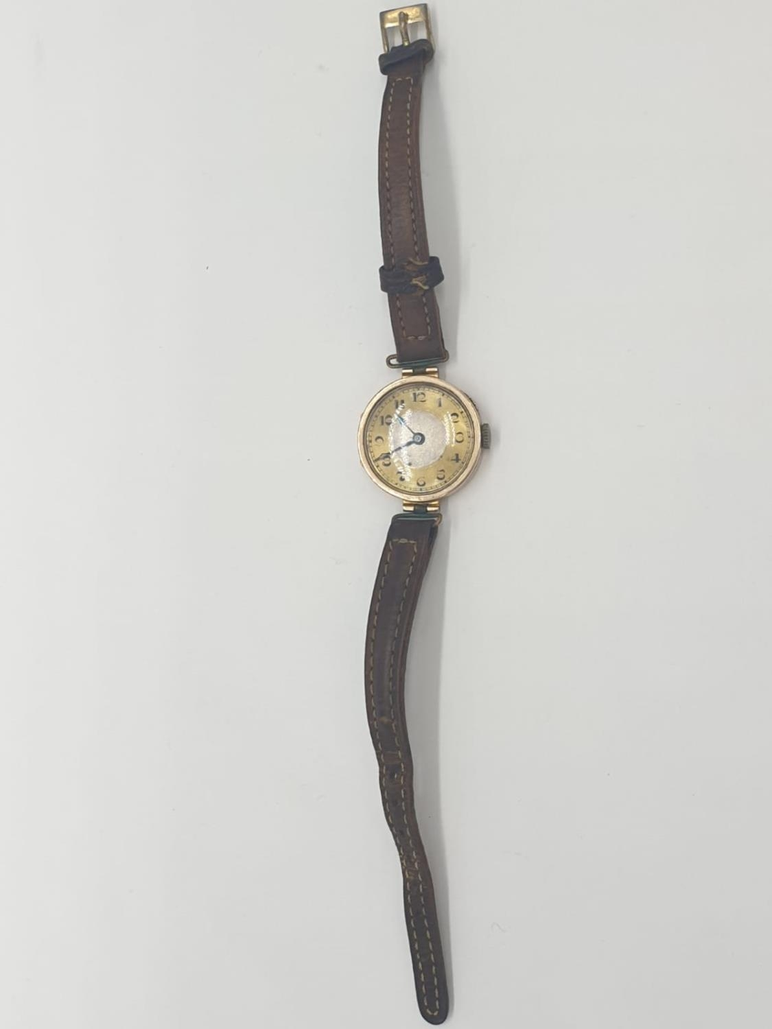 Vintage 9ct gold ladies wrist watch with leather strap - Image 7 of 9