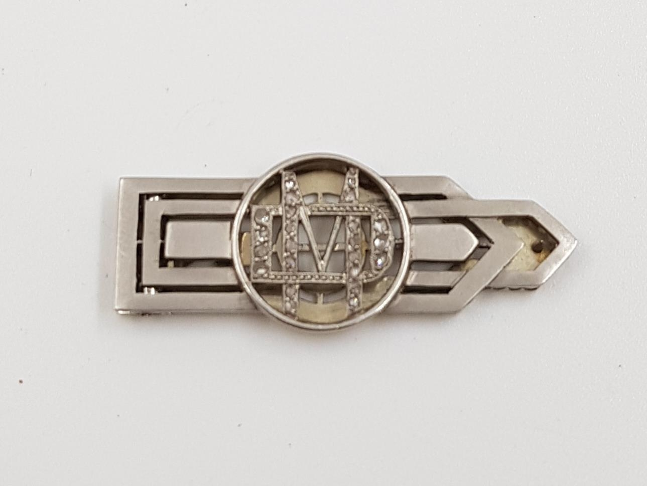 A luxurious platinum and diamond money clip. A diamond encrusted M is for money. Comes in original - Image 2 of 5