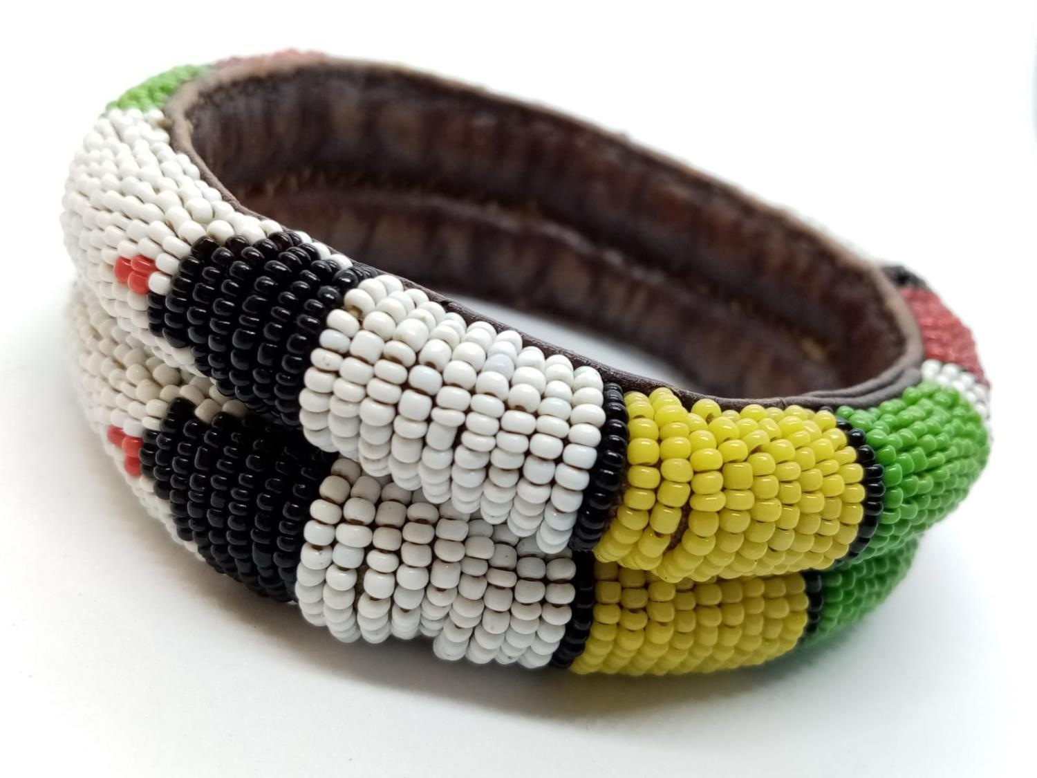 Native American hand woven leather BANGLE. - Image 2 of 4