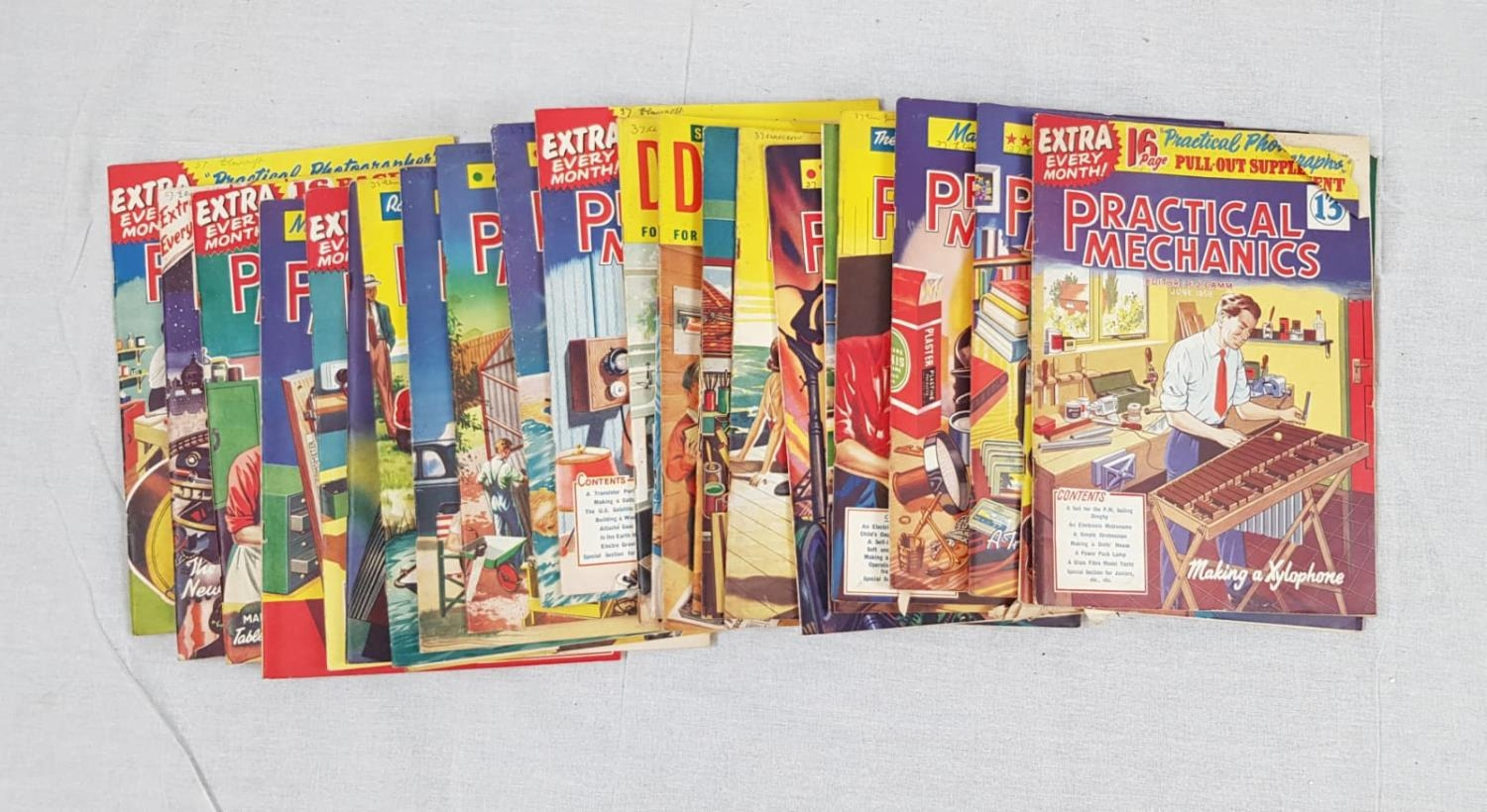 Vintage copies of Practical Mechanics magazine from 1957 - 1958. Including the classics: A room to