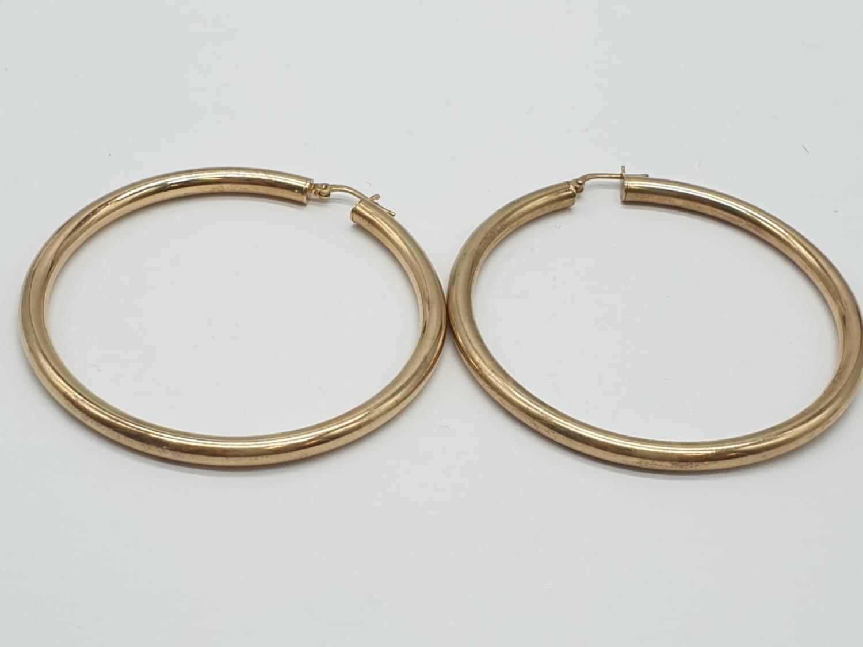 Pair of Silver Gilt HOOP EARRINGS. 11g. 6cm diameter. - Image 2 of 5