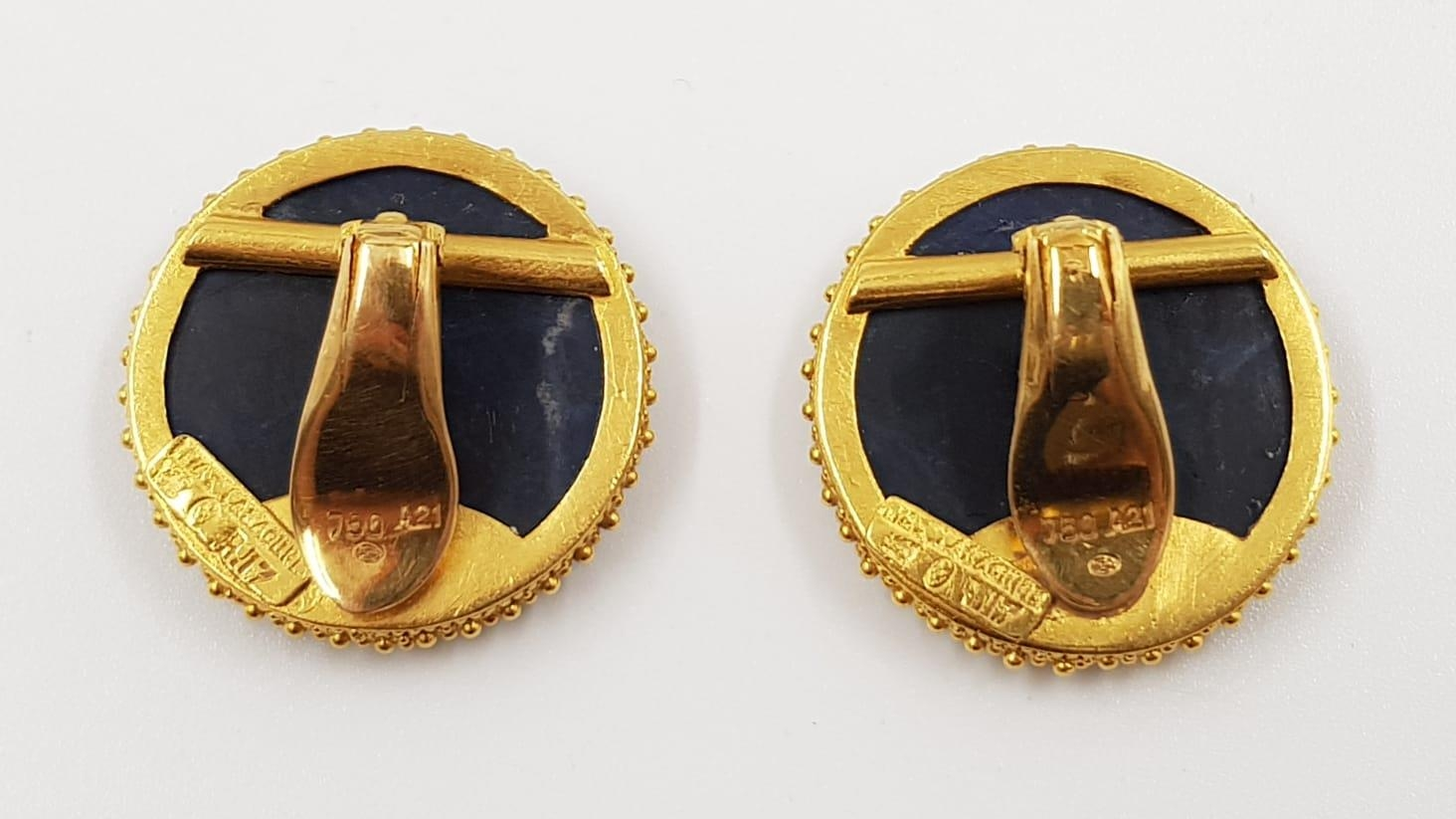 A pair of Lalaounis designer 18ct gold and sodalite earrings. 20.44g total weight. - Image 3 of 3