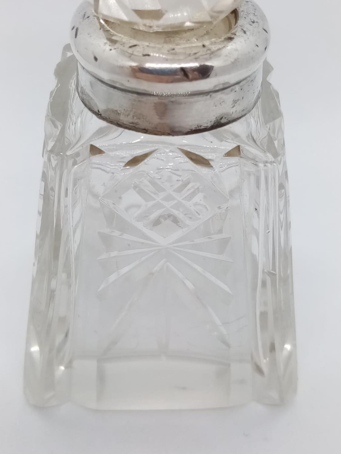 2 x Cut Glass SCENT BOTTLES. Silver Collars and also with original stoppers. Nice Art Deco style. - Image 5 of 7