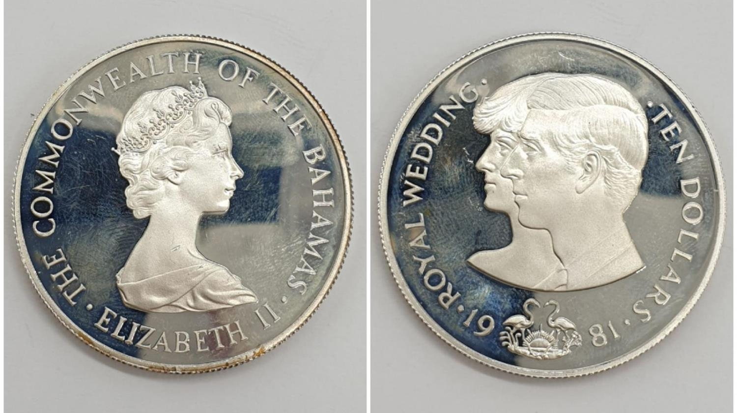 Silver Commemorative Coin of the Royal Wedding 1981 10 Dollars The commonwealth of the Bahamas 28.5g