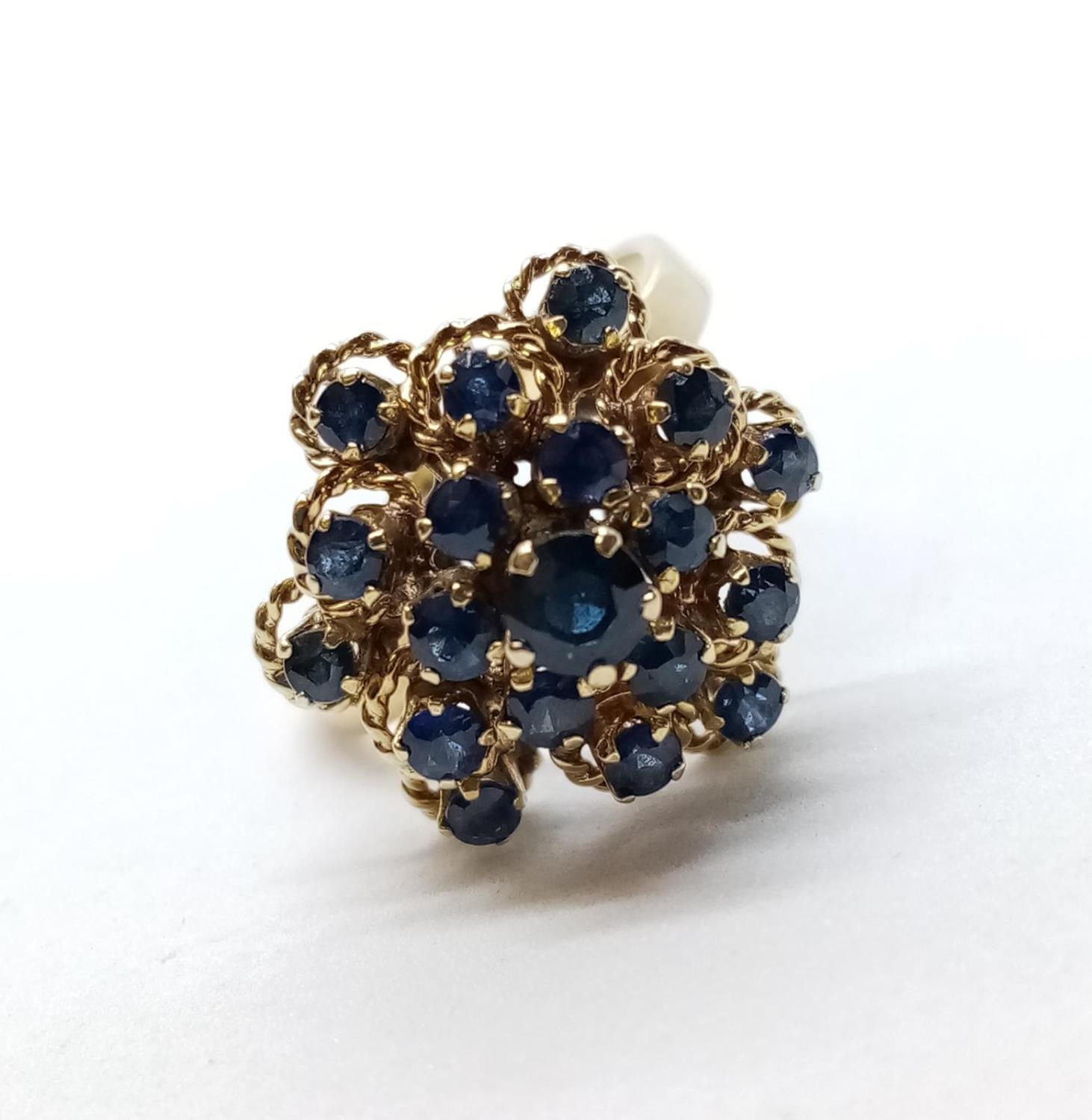 14ct Sapphire Cluster RING. 4.9g Size L. - Image 2 of 7