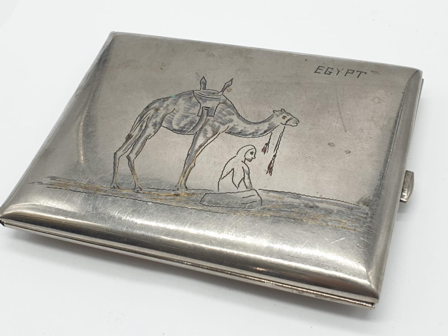 WW2 Period Cigarette Case. Hand engraved ?Egypt? and a Long Range Desert Group shoulder title - Image 2 of 4