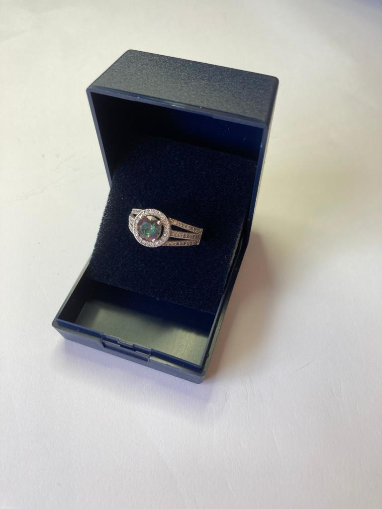 Silver ring with circular Mystic Topaz to top. Marcasite surround with pierced marcasite - Image 2 of 2