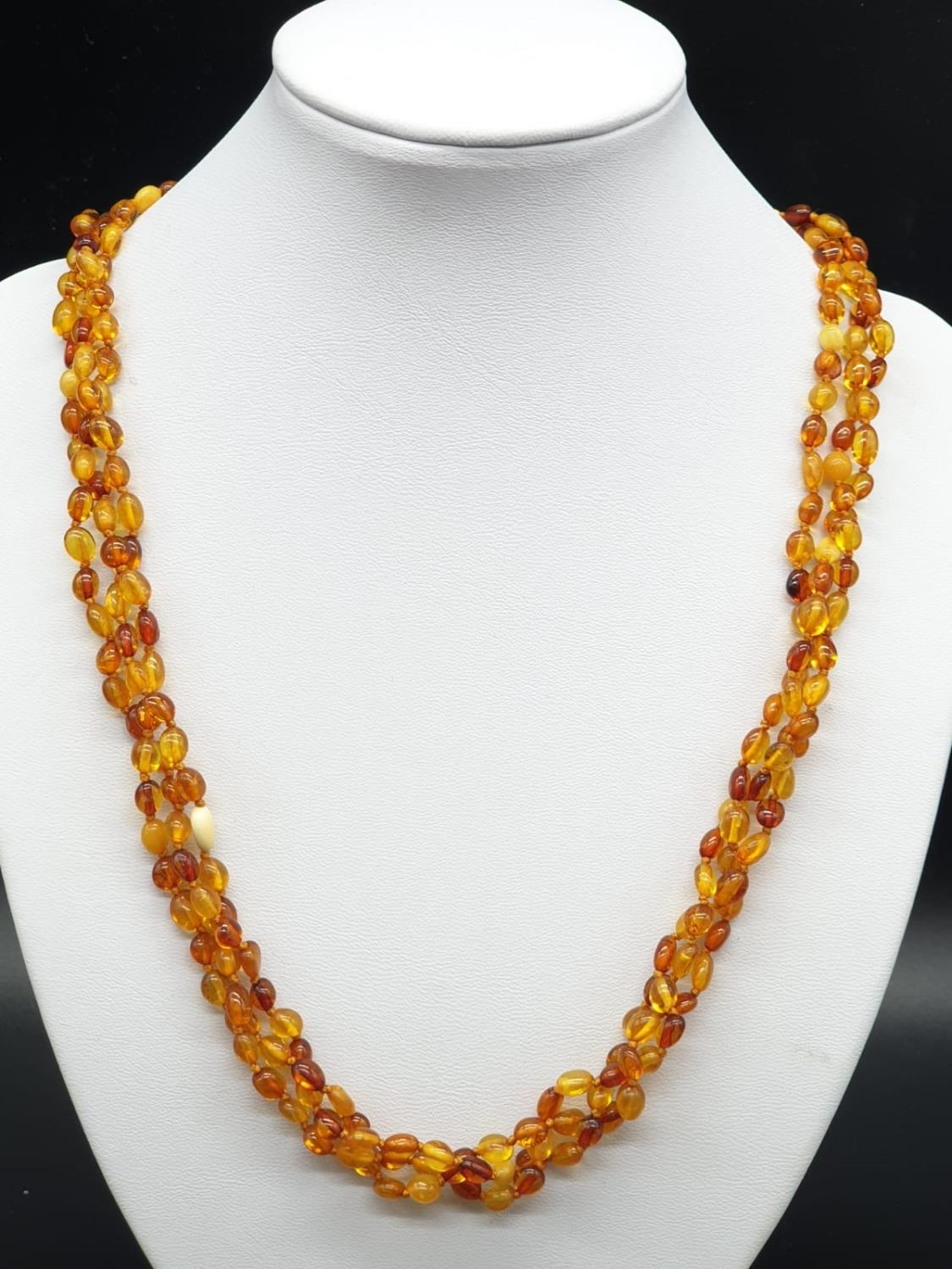 3 Rows Amber Necklace with Silver Clasp 14.8g 45cms
