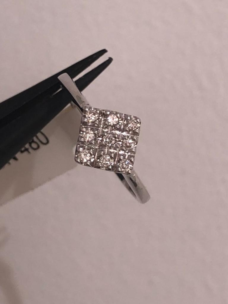 9ct white gold ring with diamonds 0.12cts, 1.8 grams in weight. Size L - Image 3 of 3