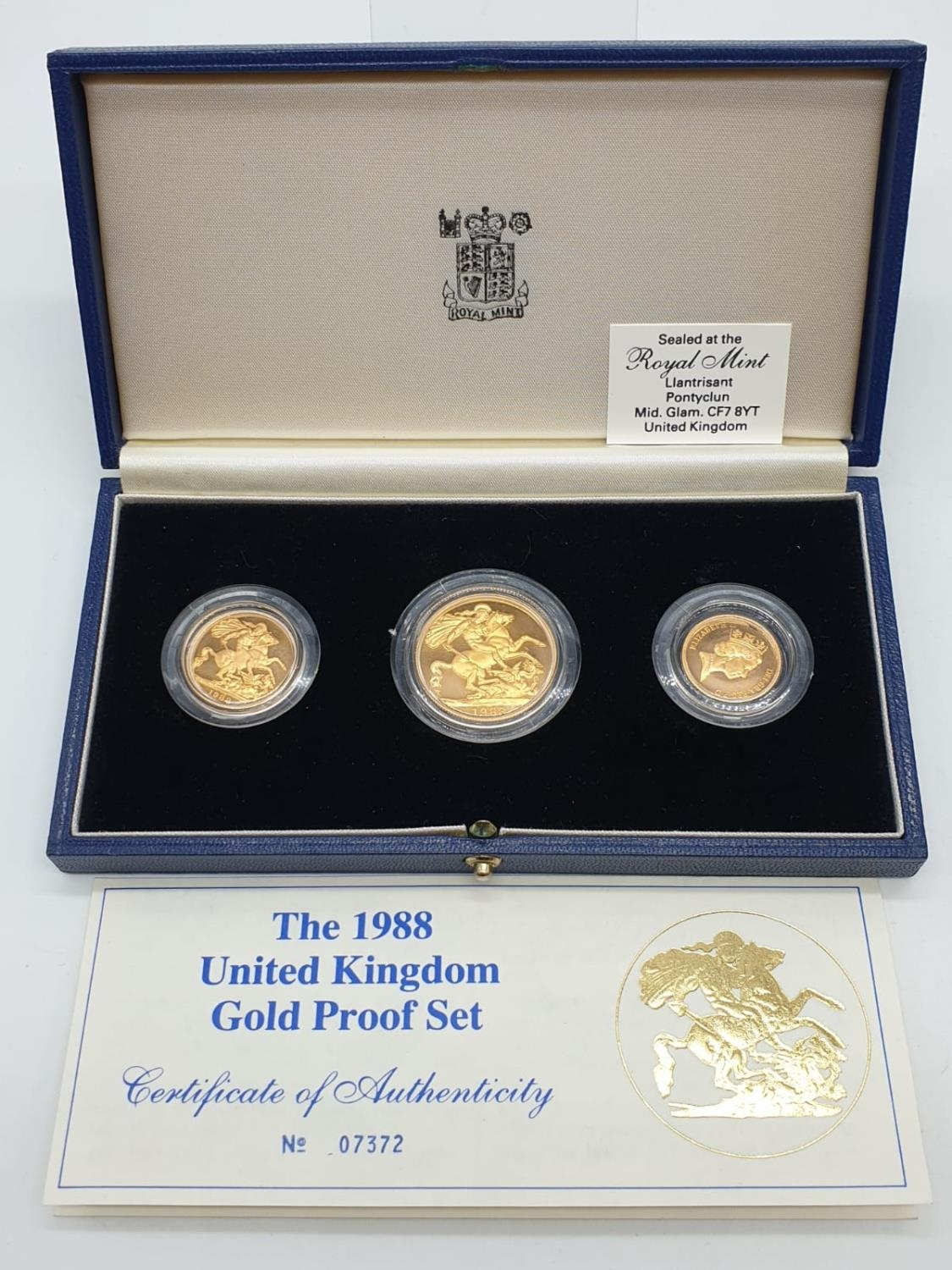 1988 UK GOLD PROOF 3 COIN COLLECTION TO INCLUDE A DOUBLE SOVEREIGN, A SOVEREIGN AND A HALF