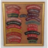 Framed collection of 22 Cloth Shoulder Patches.