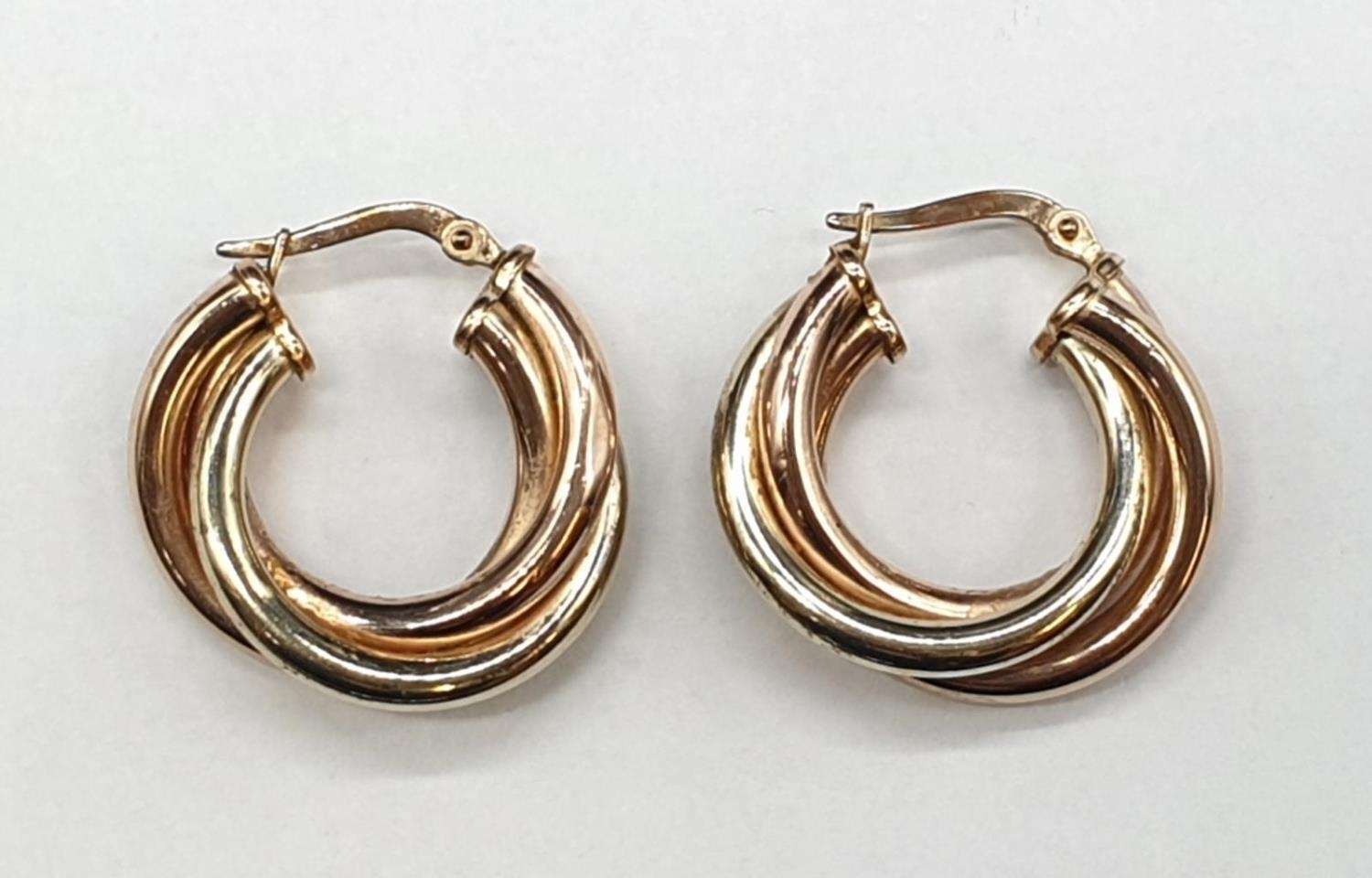 9ct 3 colours Gold Earrings 3.4g - Image 3 of 4