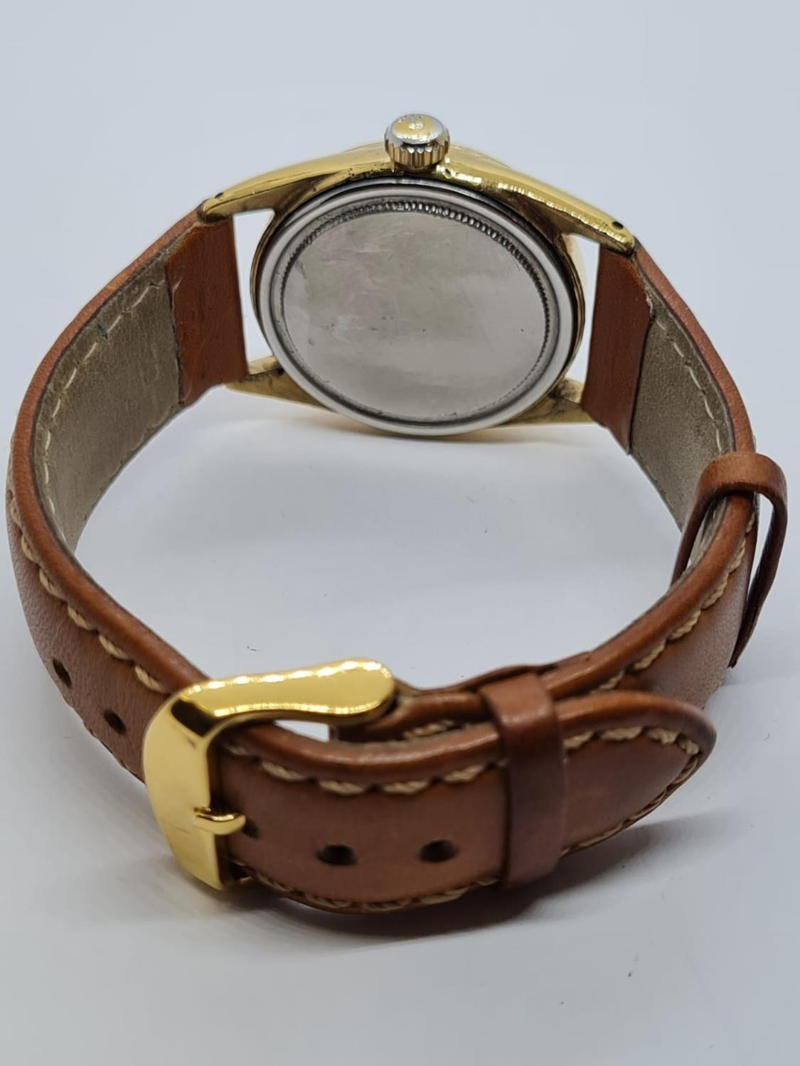 Vintage Rolex Oysterdate Precision Gents WATCH. Round face and genuine brown leather strap. 32mm - Image 4 of 5