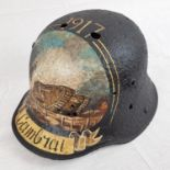 WW1 Imperial German Stahlhelm Helmet that was found near Cambrai, France. Hand painted with a