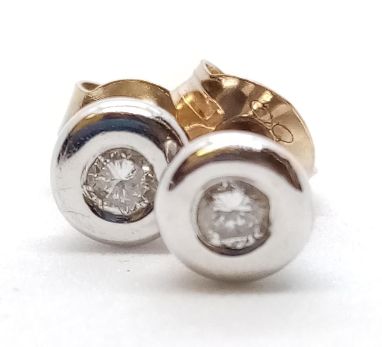 Pair of 9ct Diamond Stud EARRINGS . 2.3g - Image 2 of 3