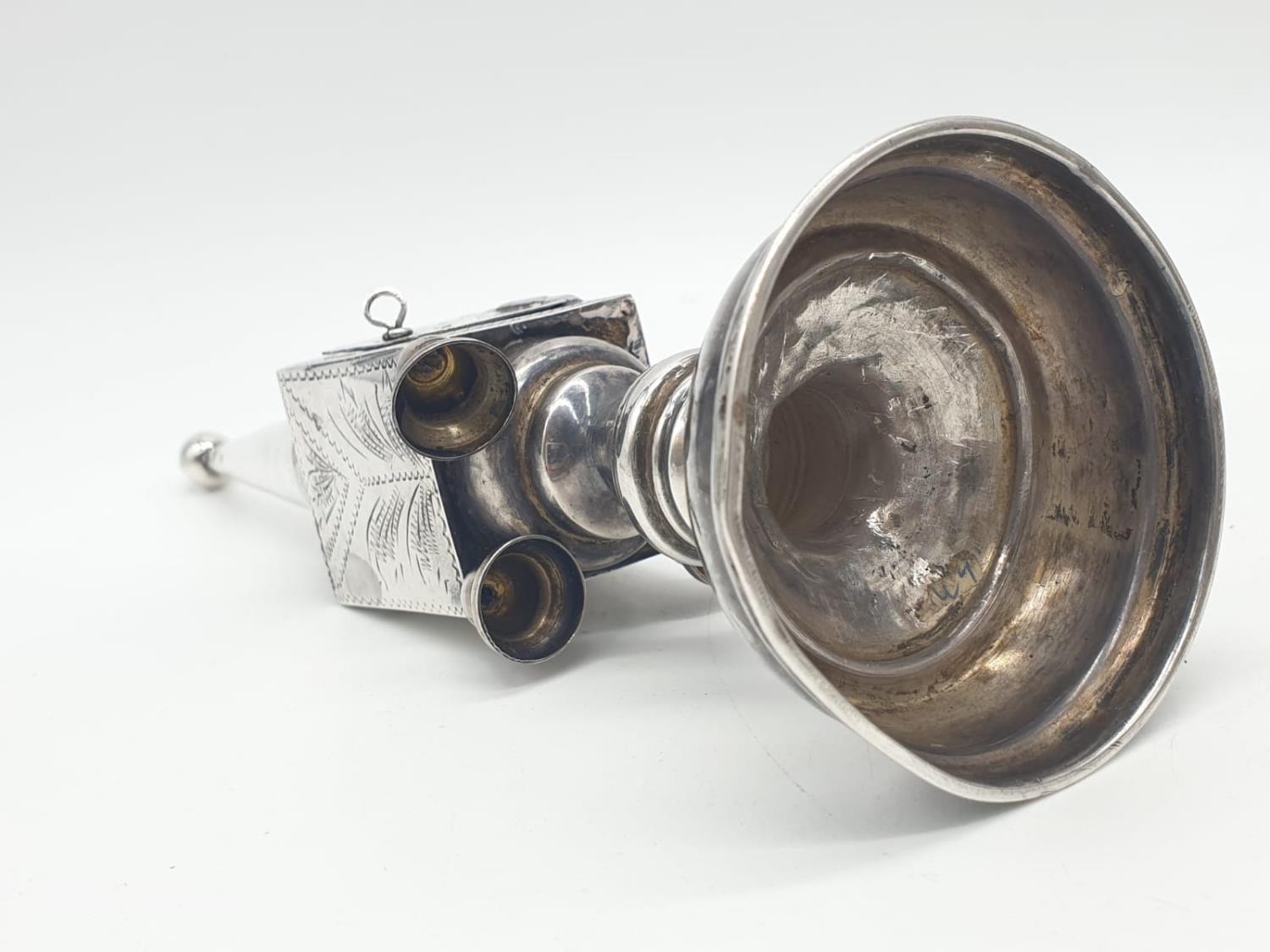Silver TOWER (missing one bell). Late 19th Cent. 94.4g 20 cm tall. - Image 8 of 9