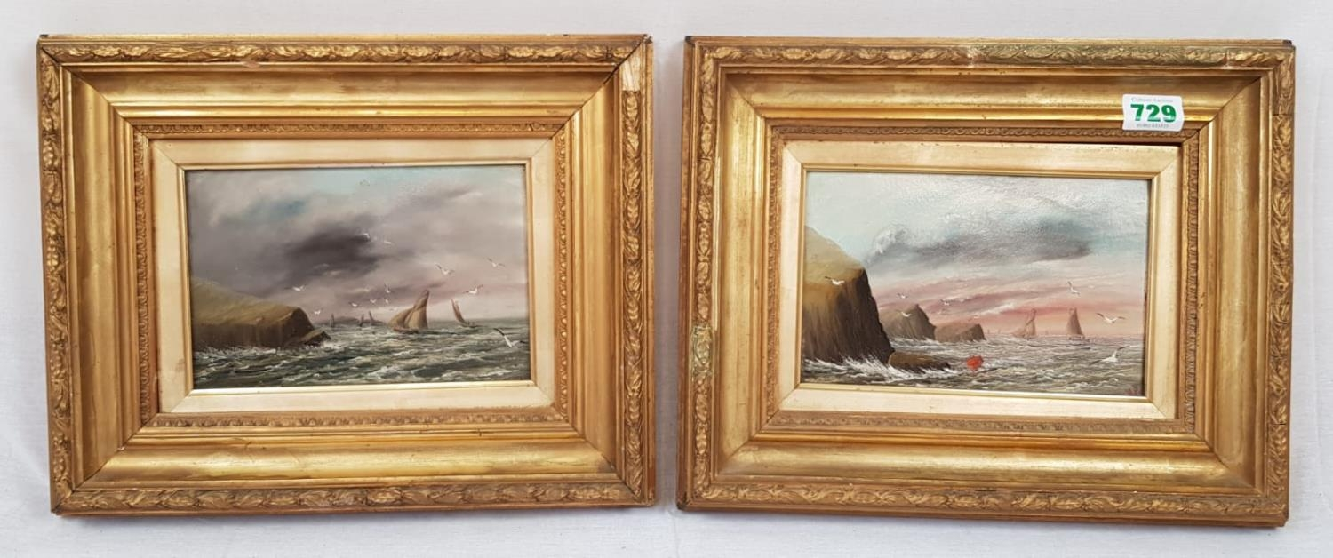 Pair of Oil on Board Ocean Views in nicely aged Gilt Frames. Signed by MP. Both 39 x 31cm.