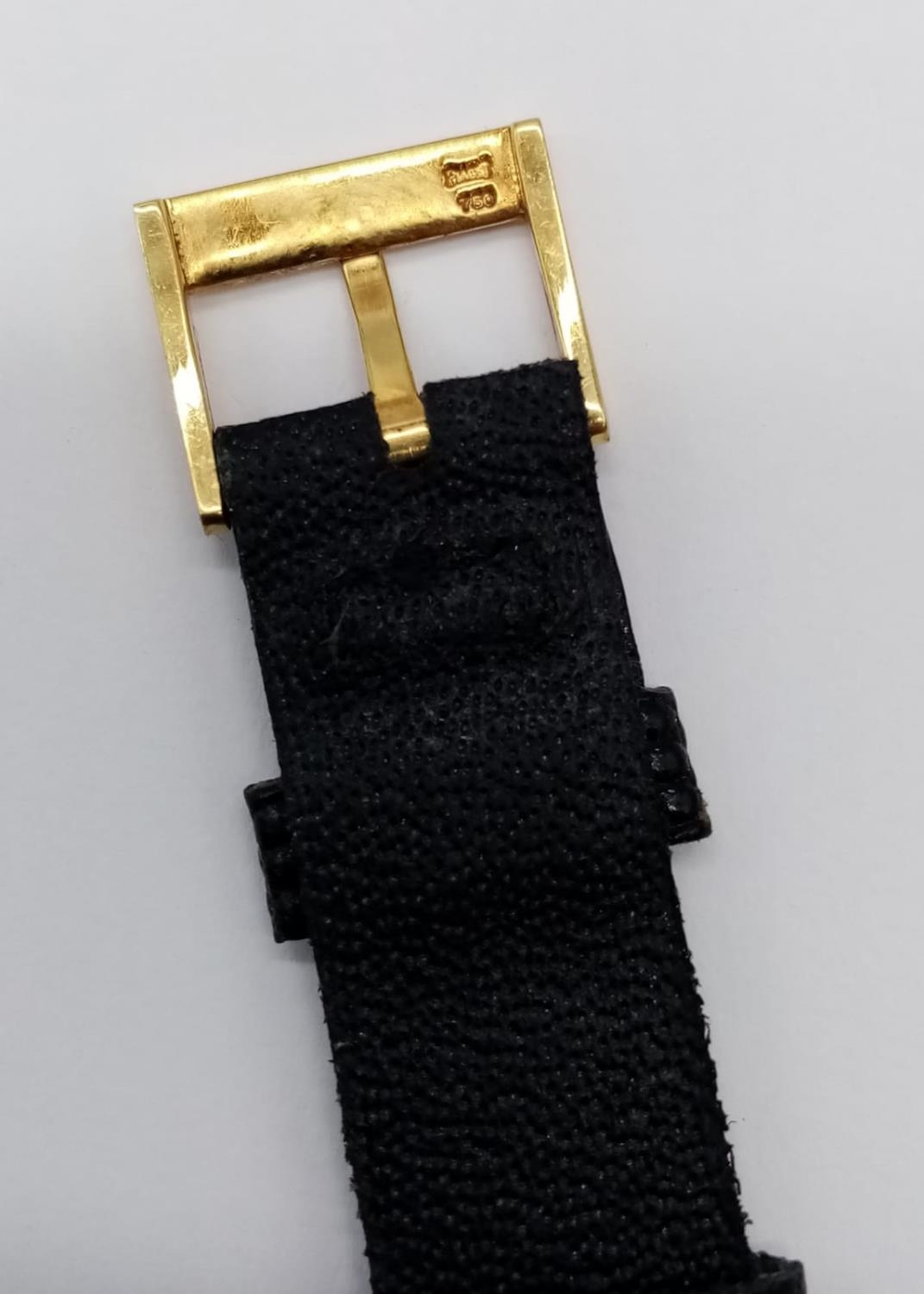 Vintage Plaget 18ct gold ladies watch with square face (22mm) and leather strap - Image 9 of 10