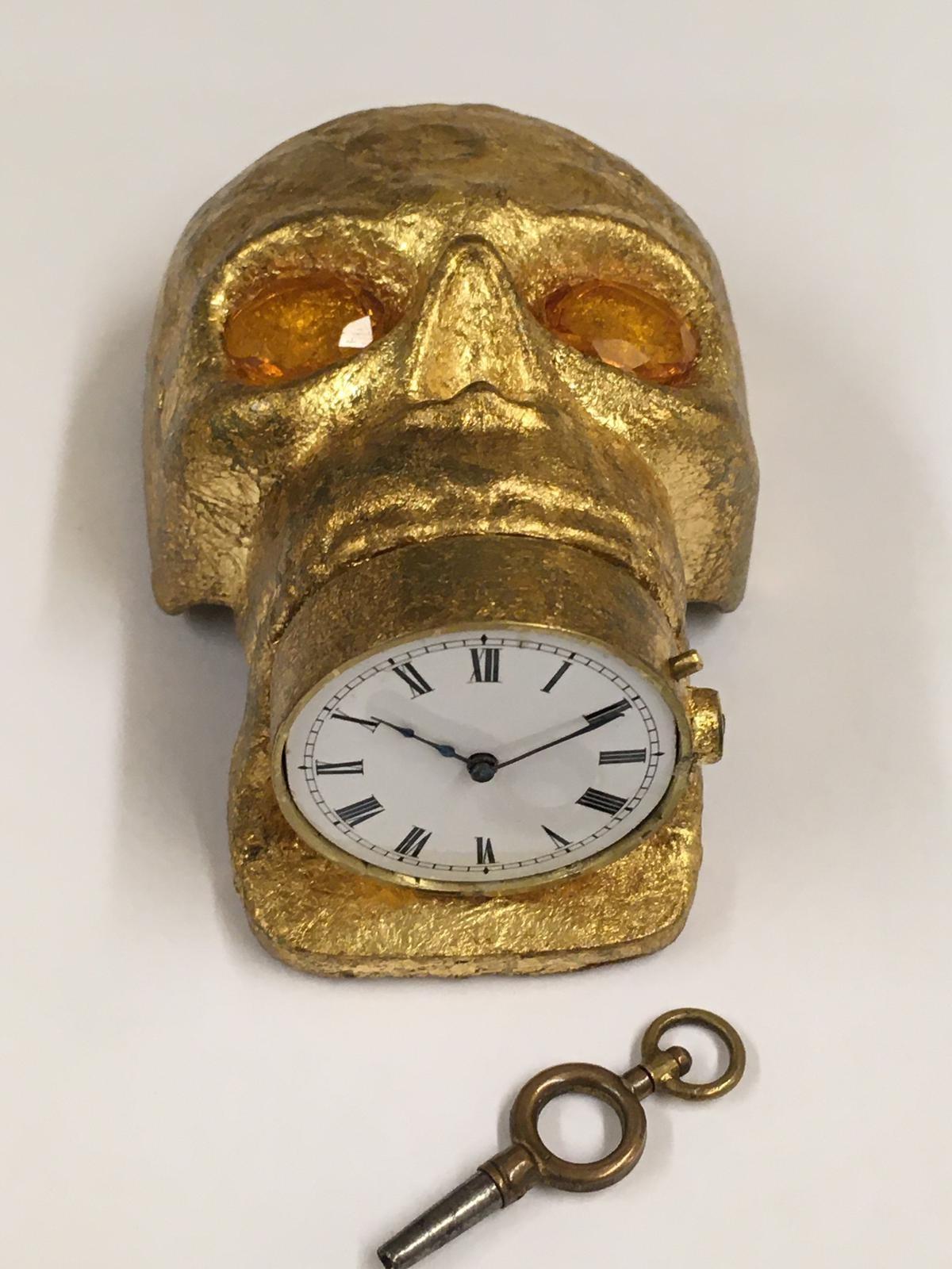 Antique 19th century Masonic memento mori Pocket watch movement timepiece . ( working ) skull with - Image 6 of 8