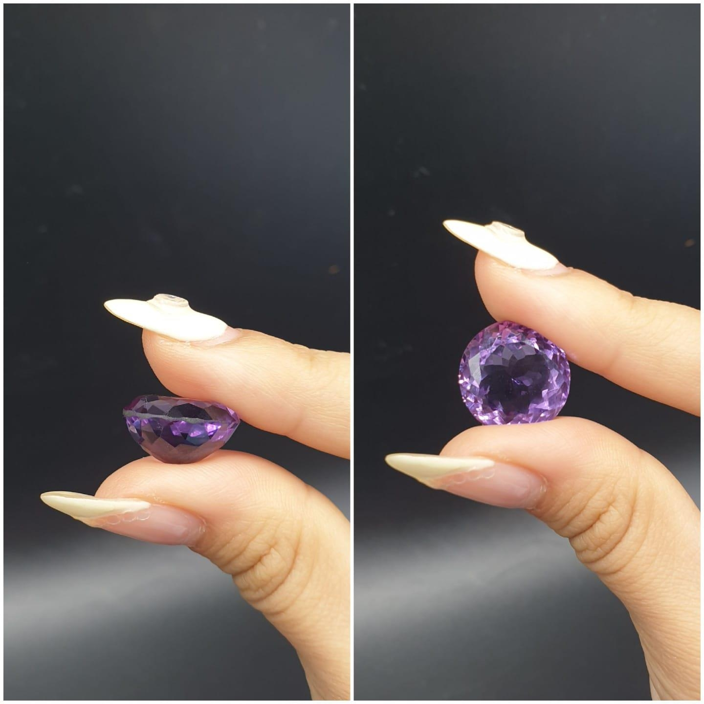 14.93 Ct Amethyst. Round shape. IDT certified - Image 4 of 5