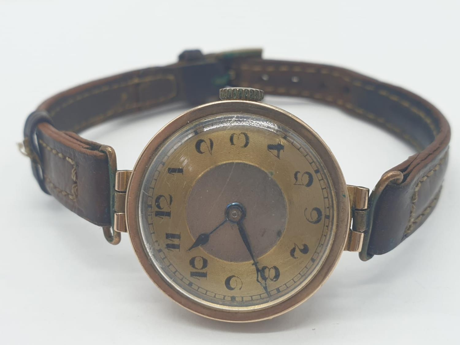 Vintage 9ct gold ladies wrist watch with leather strap - Image 2 of 9