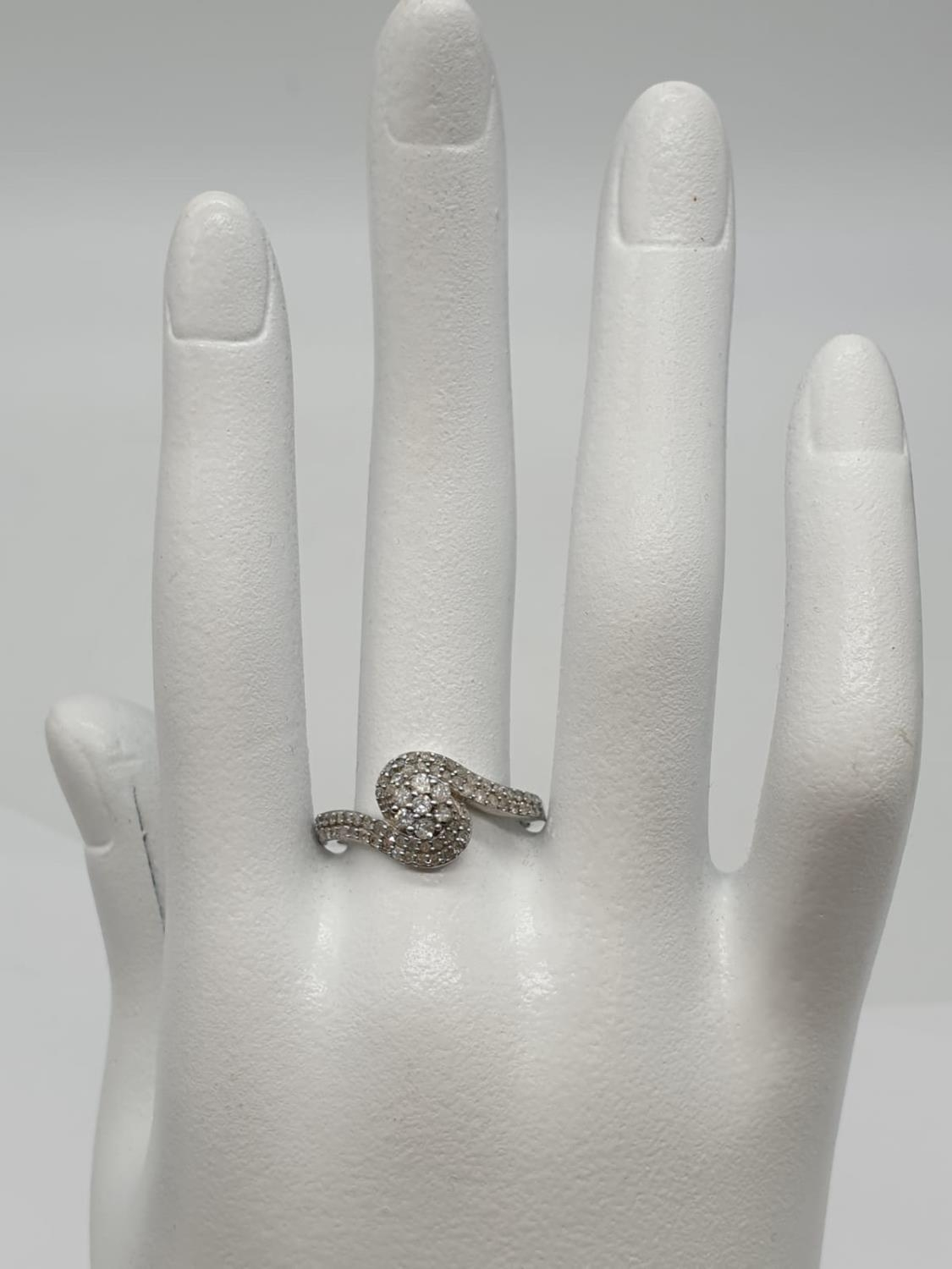 9ct white gold diamond twist cluster ring, 0.50ct diamond approx, weight 2.5g and size P - Image 7 of 7