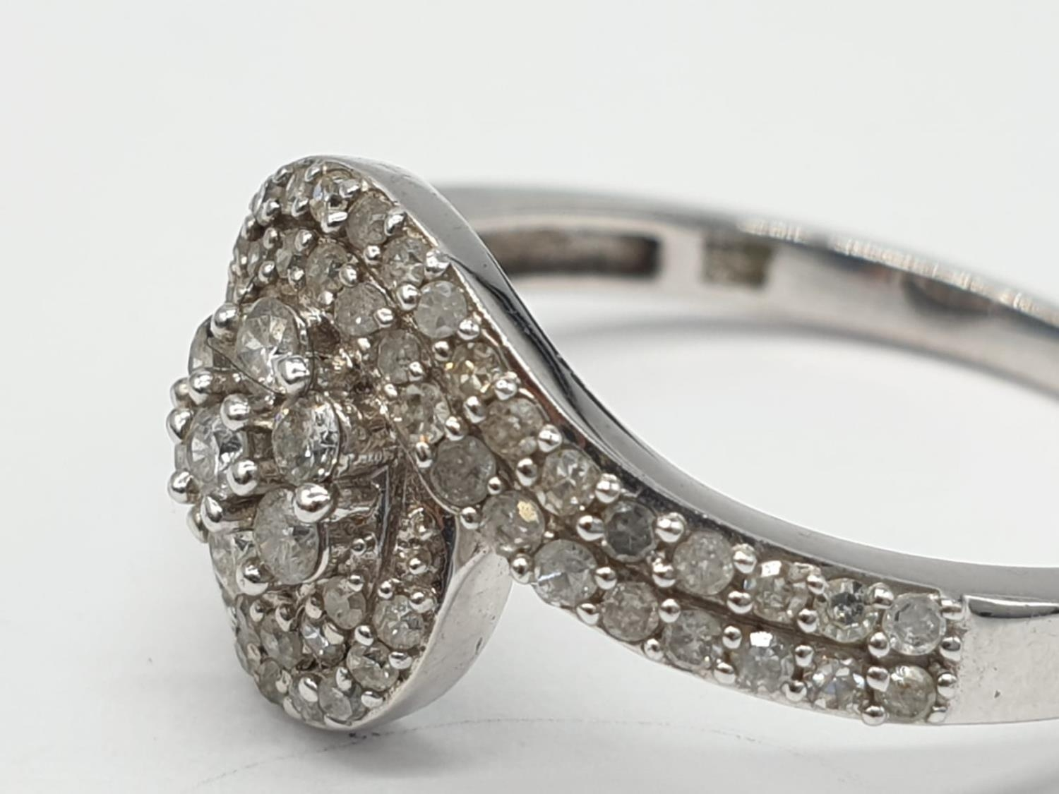 9ct white gold diamond twist cluster ring, 0.50ct diamond approx, weight 2.5g and size P - Image 2 of 7