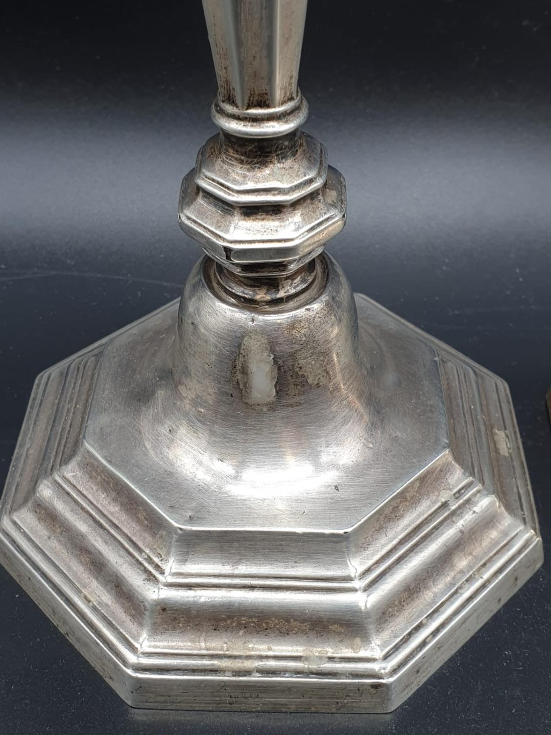 A Pair of Silver Candlesticks in Art Deco Style 23cms tall 1.6kg - Image 4 of 5