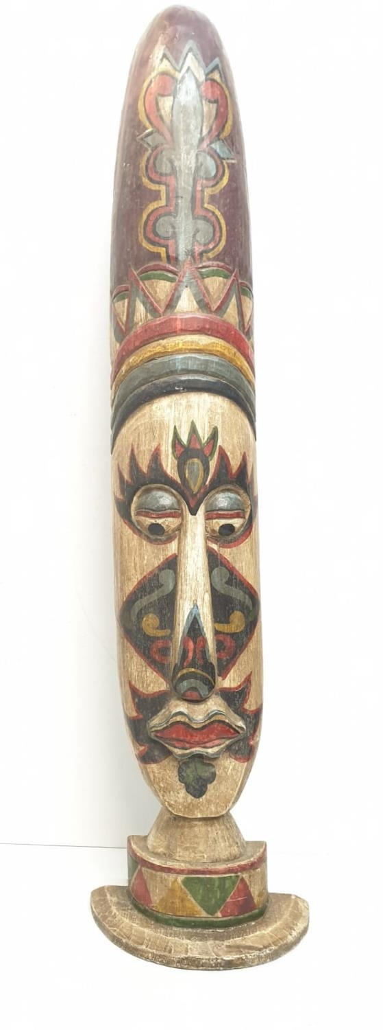 A large and free standing tribal mask from the Amazon Basin (probably Brazilian) made from Balsa