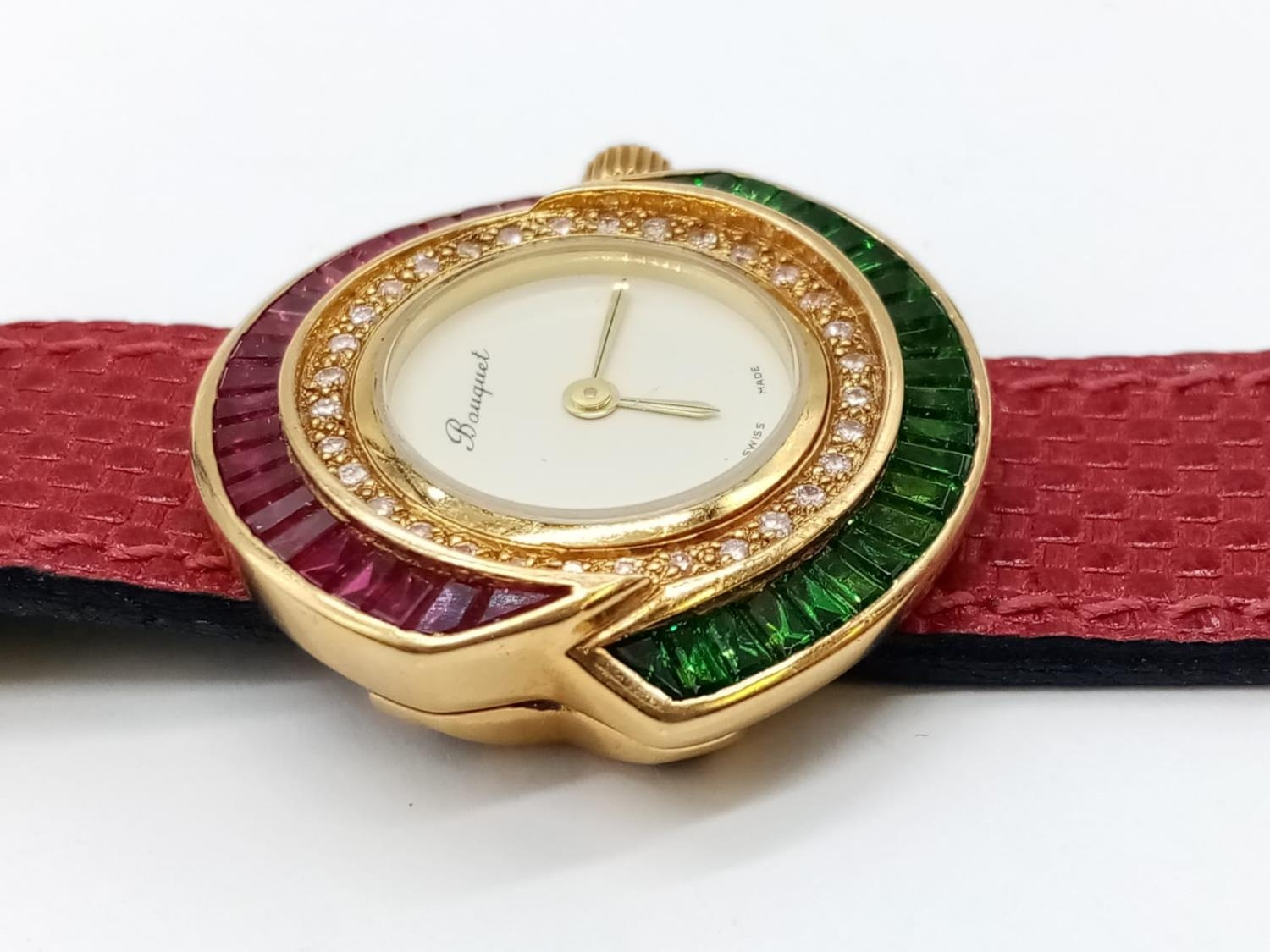 Vintage Bouquet 18ct gold ladies dress watch, round face with emerald, ruby and diamonds surround, - Image 8 of 9