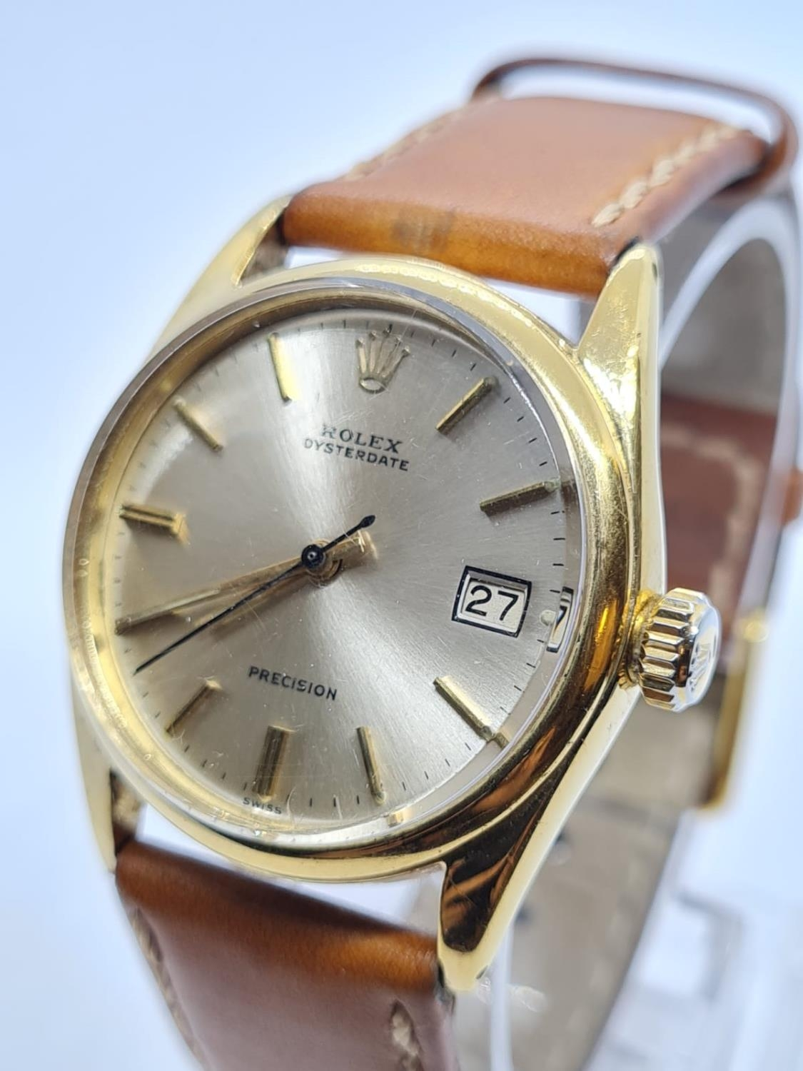 Vintage Rolex Oysterdate Precision Gents WATCH. Round face and genuine brown leather strap. 32mm - Image 2 of 5