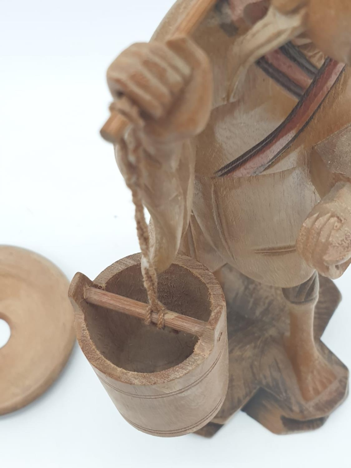 Hand carved wooden figure a Chinese pedlar. 20cm tall. - Image 6 of 7