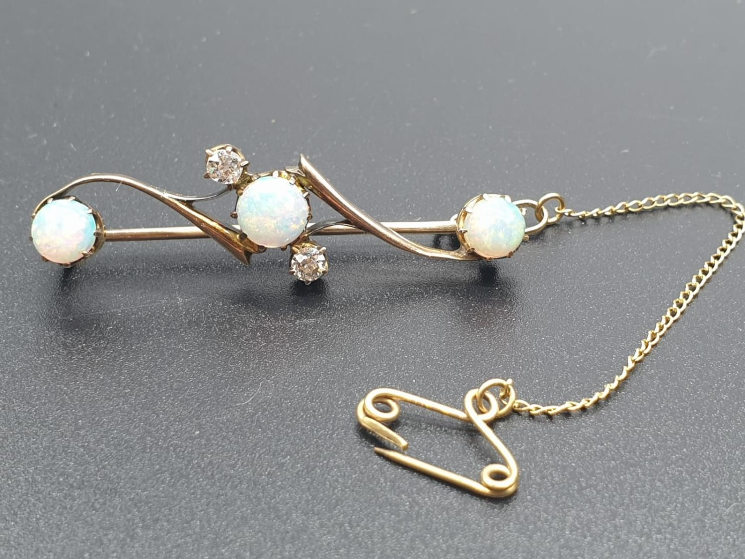 Opal Yellow Metal and Diamonds Antique BAR BROOCH. 3.5g 4cm width. - Image 2 of 8